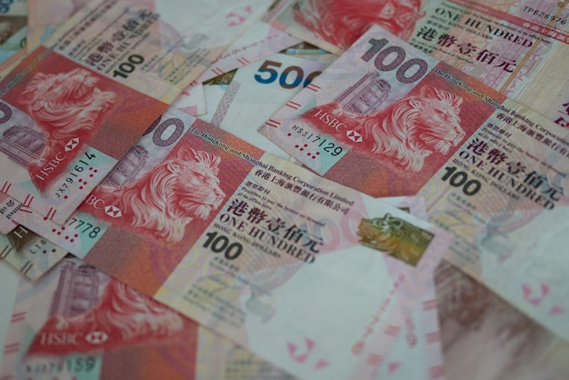 Banknote currency hong kong dollar (hkd) for international financial business and stock exchange concept