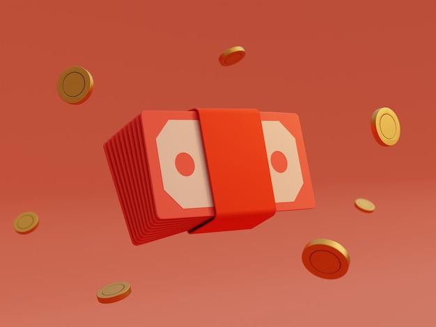 Пакет конвертов красный деньги банкноты и золотая монета на изолированном фоне. деловой финансовый и игровой приз за концепцию победителя. 3d визуализация иллюстрации