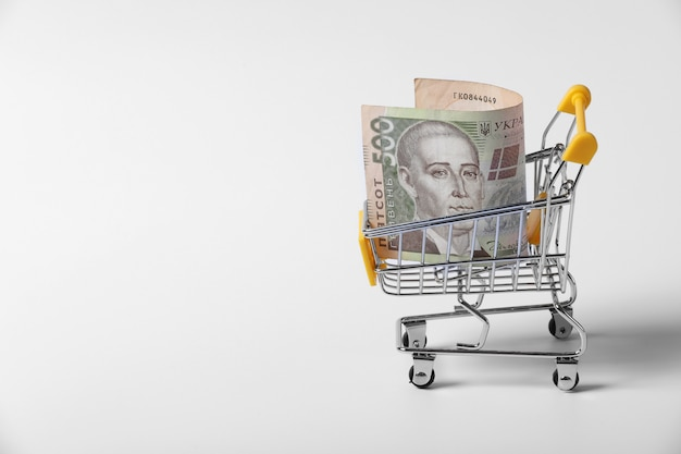 Banknote ukrainian hryvnia in the shopping cart on shopping isolated on white