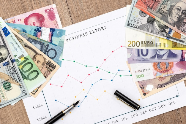 Banknotes from different countries with a graph and pen