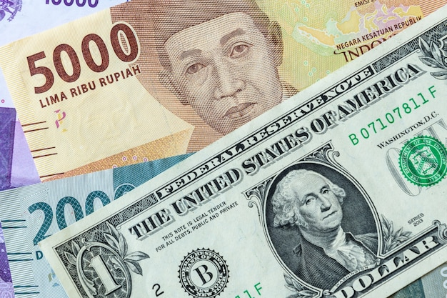 Banknotes from usa and indonesia