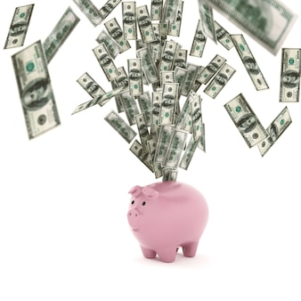 Banknotes out of a piggy bank. economic wealth concept. 3d rendering