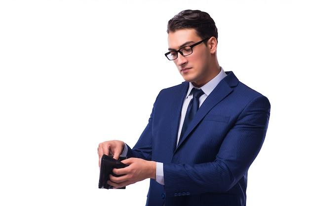 Bankrupt broke businessman with empty wallet