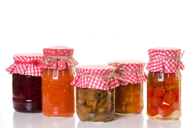 Banks with homemade preserves.