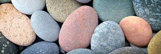 Banner abstract smooth round pebbles texture