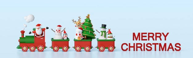 Banner background of santa claus and friends on christmas train