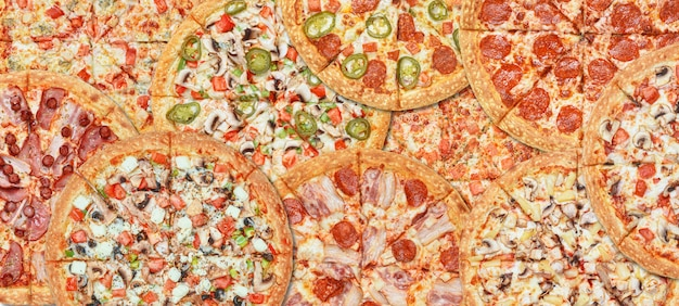 Banner background with different types of pizza