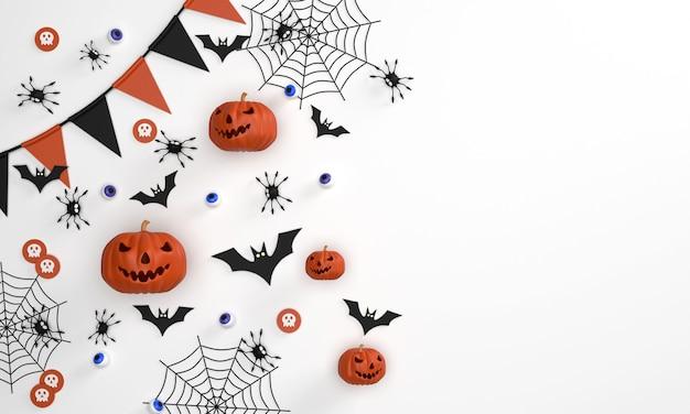 배너 배경오렌지 배경에 할로윈 축제 유령 호박 박쥐 비단 거미 유령