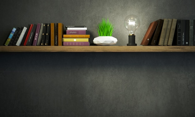 Banner bookshelf in a dark room