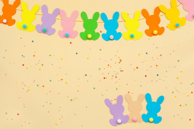 Banner bunny easter garland. rabbit garland baby shower. 1st happy dirthday party.