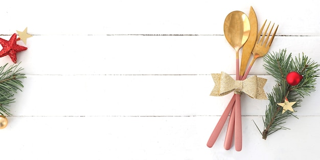 Banner concept of christmas table setting. copy space.