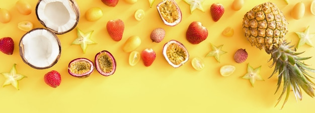 Banner of exotic tropical fruits.