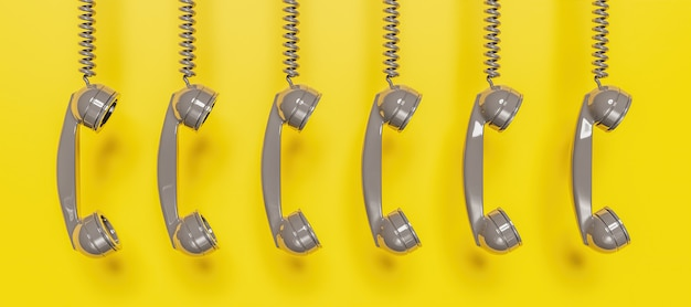 Banner of grey antique telephone headset hanging from cable on yellow background. 3d rendering
