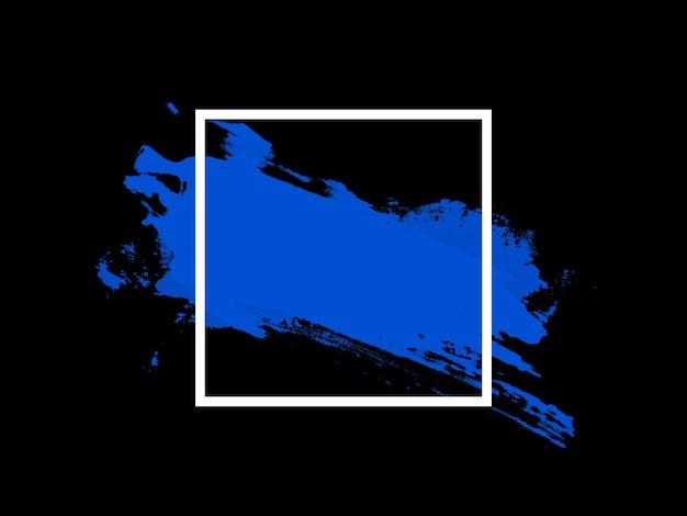 검정색 배경에 배너 단열재입니다. 파란색 터치가 있는 흰색 사각형. 고품질 사진