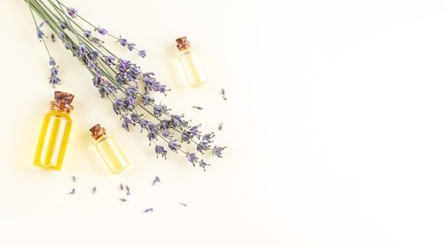 Banner of lavender essential oil bottles or perfume with flowers