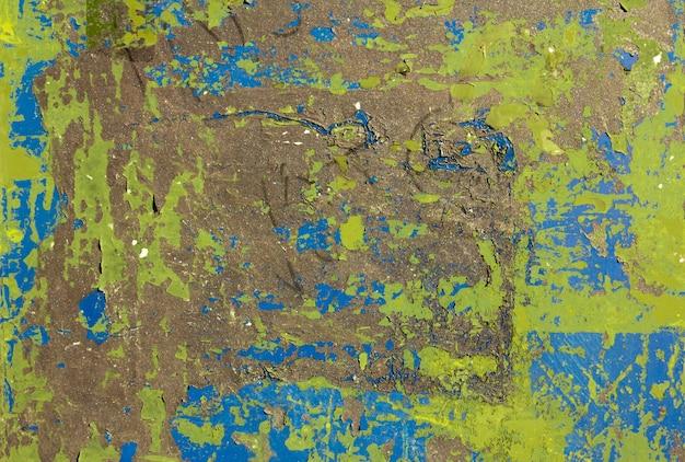 녹색 및 파랑 색조의 균열 벽 텍스처 배너입니다. 녹슨. 배경.