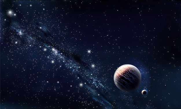 Знамя вселенной. концептуальный веб-баннер. планета и звезды. задний план