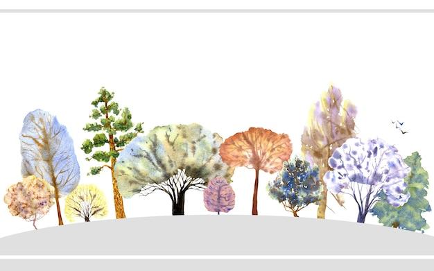 冬の森のバナー白い背景の色とりどりの木水彩イラスト