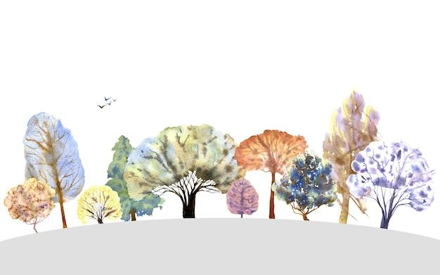 白い背景の上の灰色の土の冬の森のバナー水彩イラスト