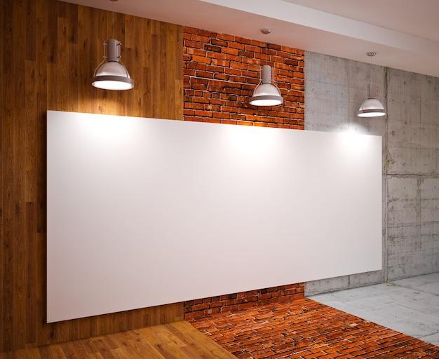 램프, 현대적인 인테리어와 벽에 배너