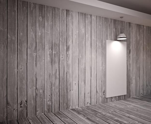 램프, 현대적인 인테리어와 나무 벽에 배너