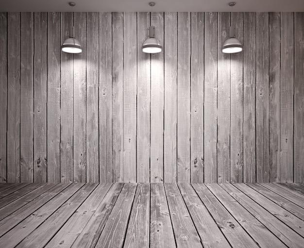 램프와 나무 벽에 배너