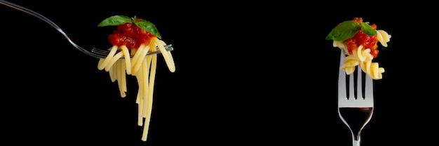 Banner of pasta on black