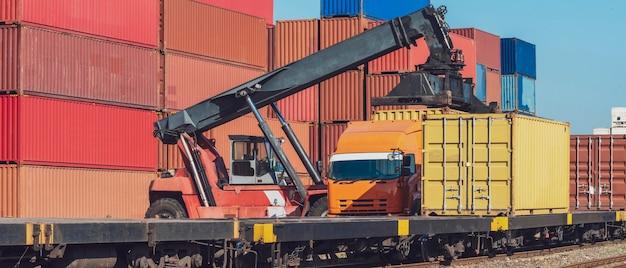 Фотография к заголовку вилочного погрузчика, перемещающего контейнерный ящик из грузового поезда в грузовик в зоне логистики