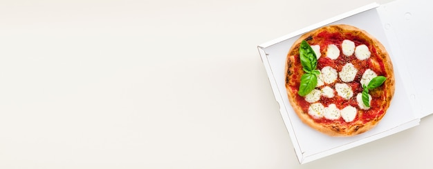 Banner of pizza margherita in a box for delivery, advertising or menu