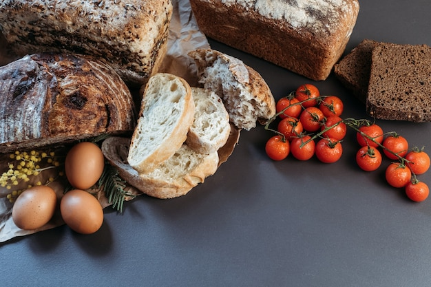 Banner, place for text, bread, gluten-free and without animal products.