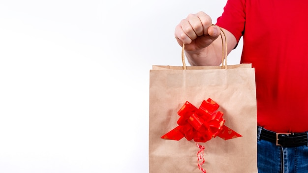 Banner. secure contactless remote delivery of holiday gifts during coronavirus pandemic. close up.