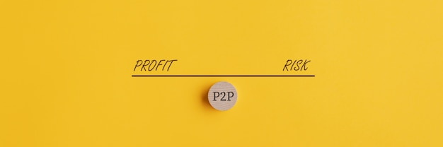 Banner of a seesaw weighing risk and profit of p2p investment and loan.