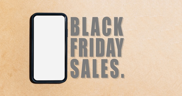 Banner of smartphone near text of black friday sale