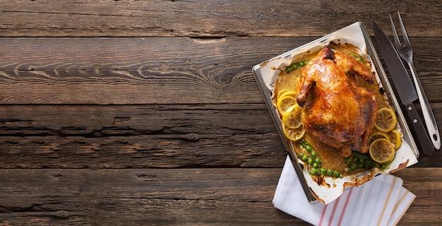 Banner thanksgiving chicken on wooden table gala dinner