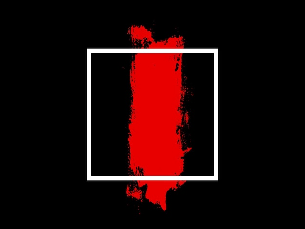 Banner. white square with red touch isolated on black background. high quality photo