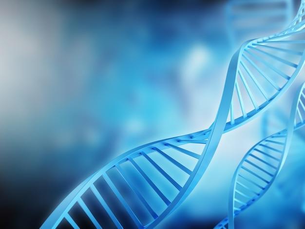 의료 목적을 위한 파란색 배경 중립 배경에 dna 분자의 3d 모델이 있는 배너