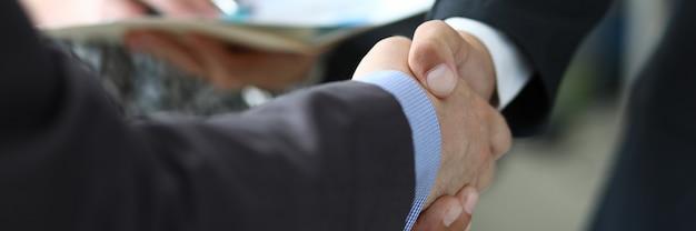Banner with business chart handshake