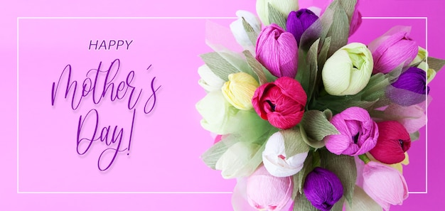 Banner with colorful bouquet of paper flowers and the inscription happy mothers day