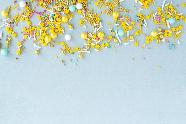 Banner with copy space sugar sprinkles grainy background for holiday designs, party, birthday, wedding invitation