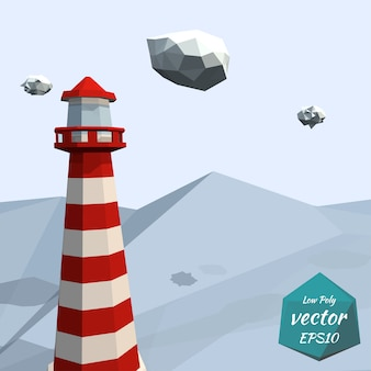 Banner with a lighthouse in the sea isolated on white background. recreation. low poly style.