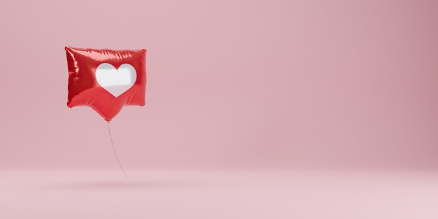 Banner with red like notification balloon on pastel background
