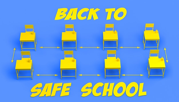 안전 거리와 액체 비누가 있는 분리된 학교 책상이 있는 배너