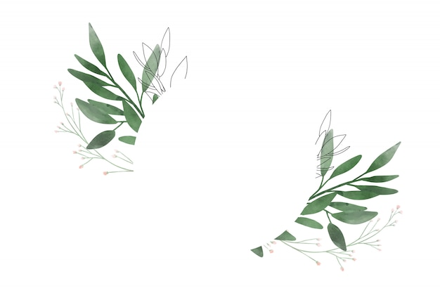Banner with watercolor leaves. design for wedding and greeting card.