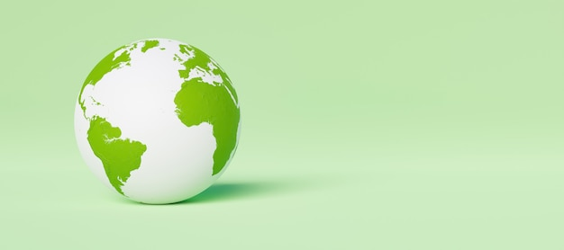 Banner with white and green planet earth on green background. environment concept. 3d rendering
