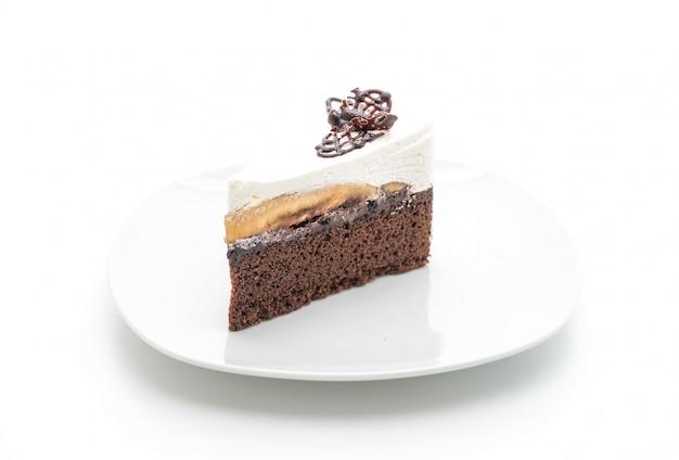 Banoffee cake on white background