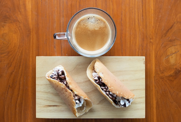 Banoffee pancake roll with the espresso cup.