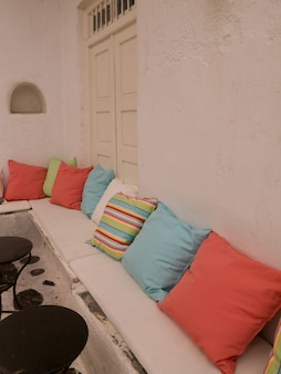 Banquette with cushions in mykonos greece