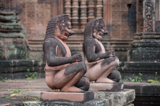 Banteay srei or banteay srey, the ancient of cambodian temple dedicated to the hindu god shiva, angkor, khmer temple ,siem reap, cambodia - traveling concept.
