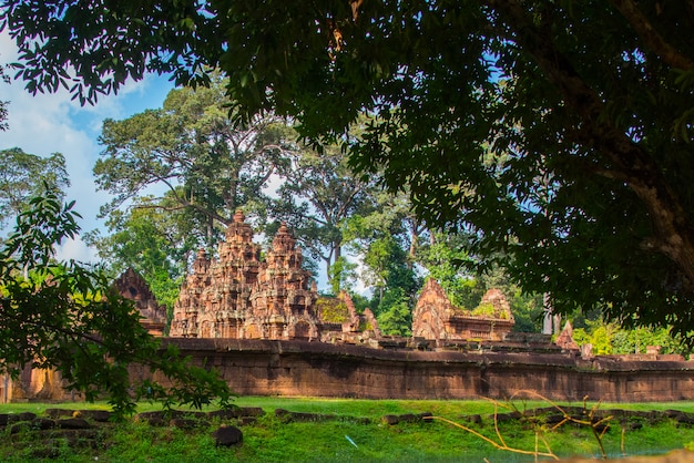 Banteay srei north of the temple city of angkor .banteay srei is one of the most popular ancient temples in siem reap carvings on red sandstone cambodia