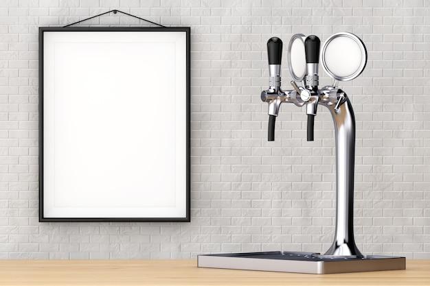 Крупный план крана пива бара перед кирпичной стеной с пустой рамкой. 3d рендеринг